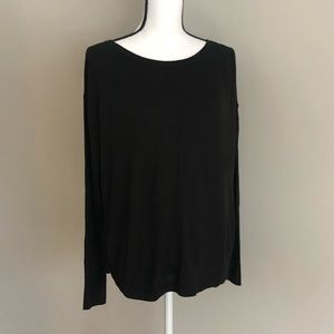 LOFT Black Sweater With Sheer Back